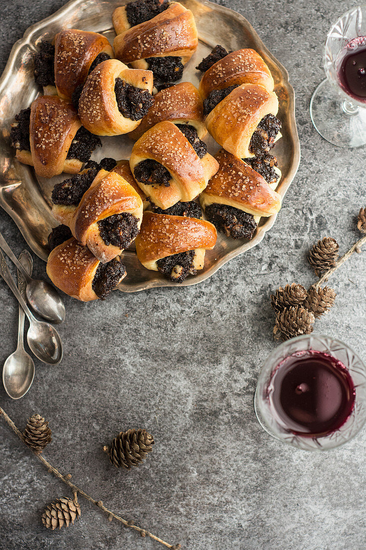 Poppy and walnut croissants