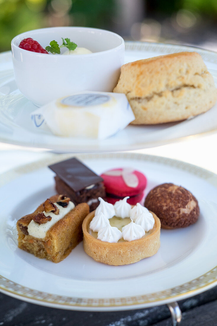 Scones, butter and a slection of cakes and pastries