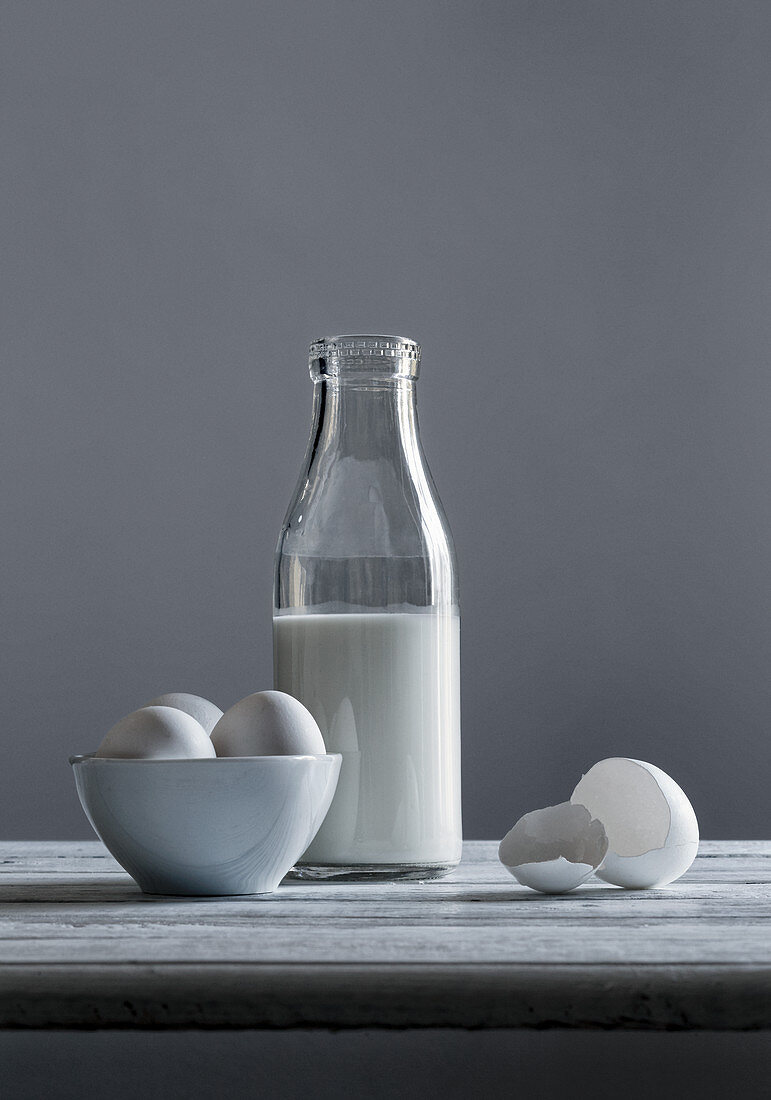 A still life with milk and eggs