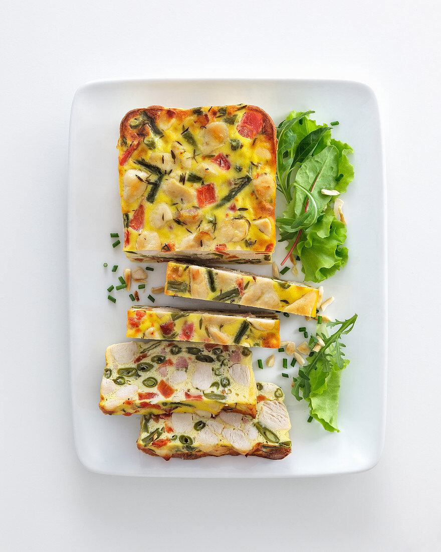 Chicken terrine with bacon, oregano and capers