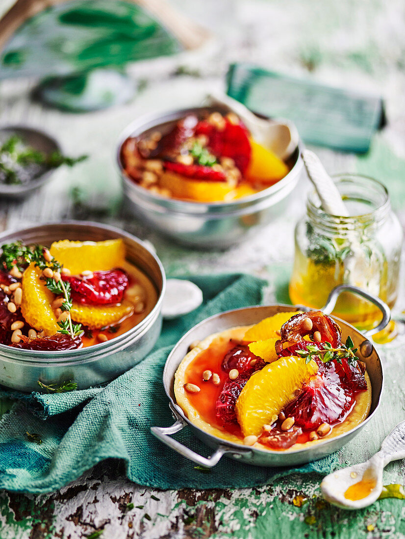 Baked ricotta puddings with orange and date salad