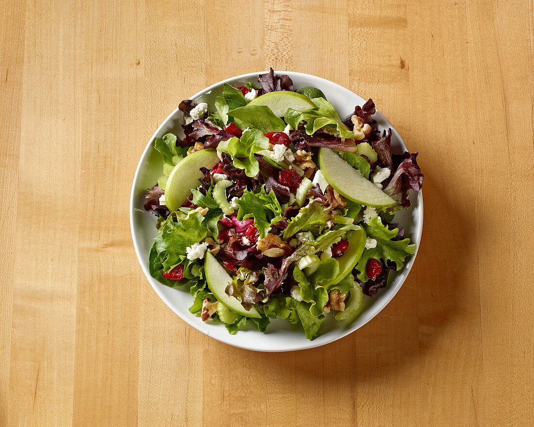 Waldorf Salad on Butcher Block Table shot from above