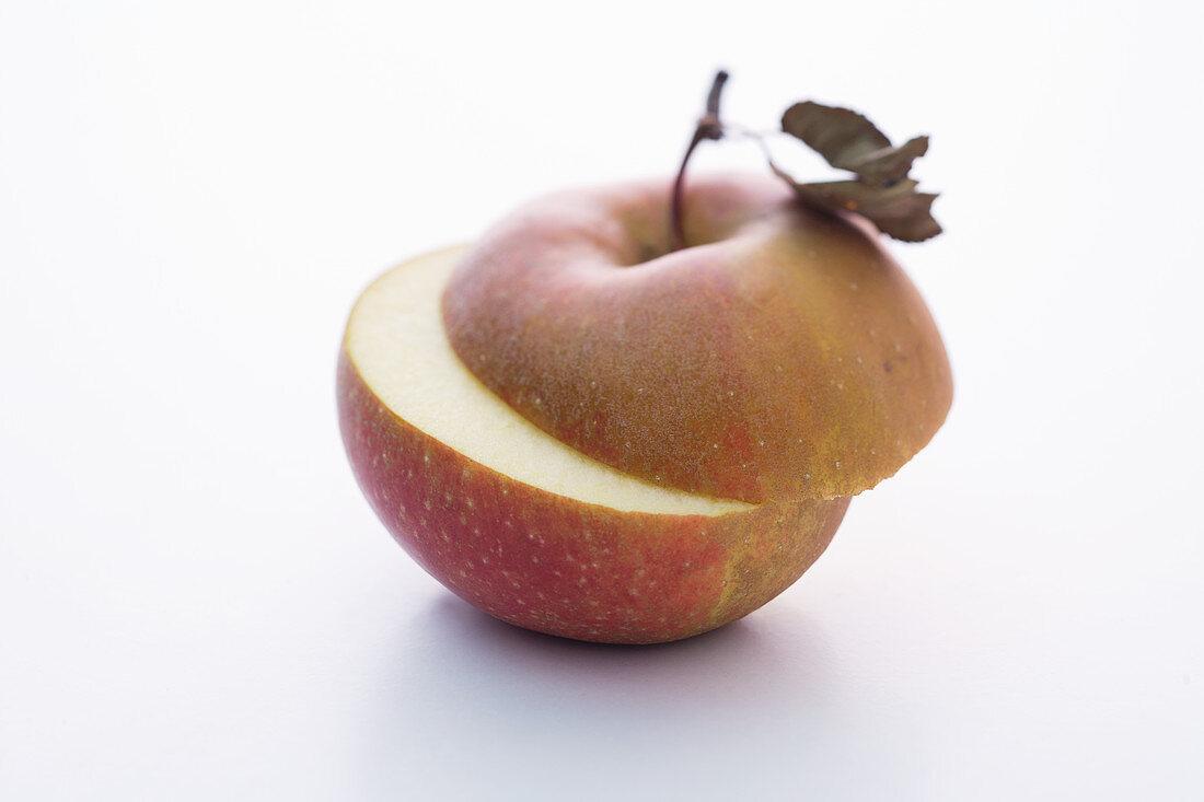 A Boskop apple, halved