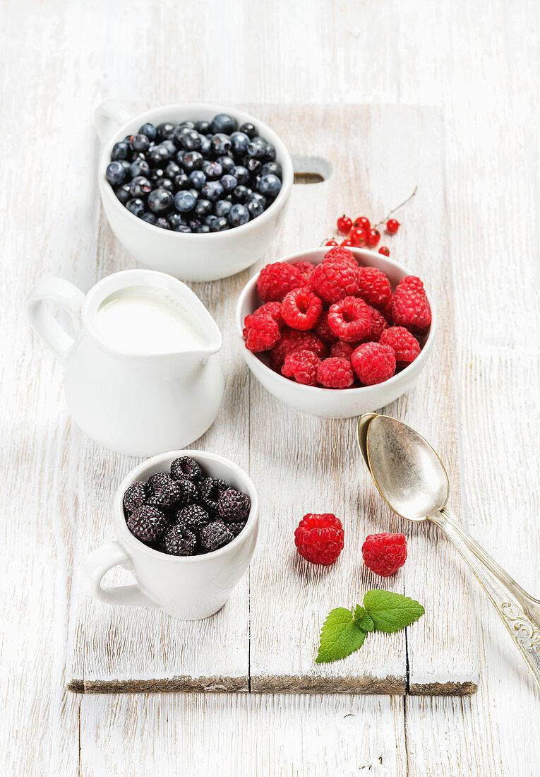 Fresh rasberries, blackberries and bilberries