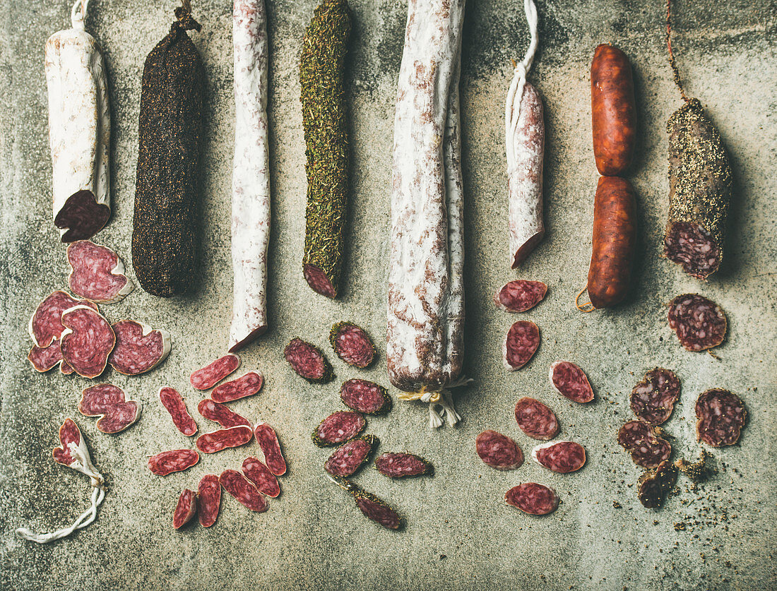 Variety of Spanish and Italian cured meat sausages