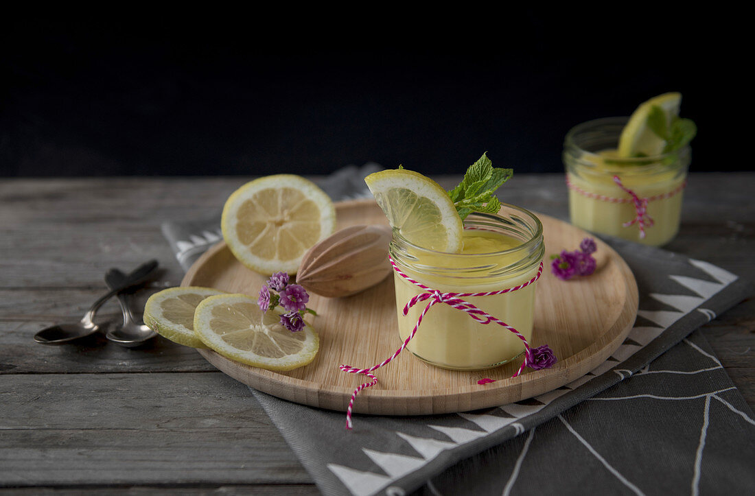 Preserved lemon cream with mint
