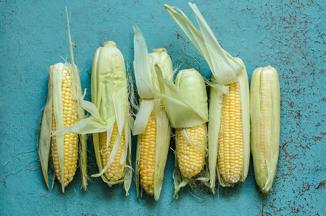 Corn on the old blue table