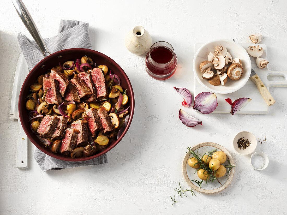 A mushroom dish with beef steak