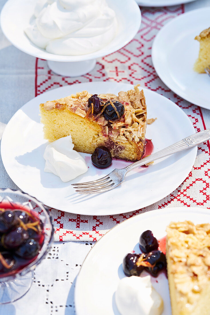 Caramel almond cake with macerated cherries
