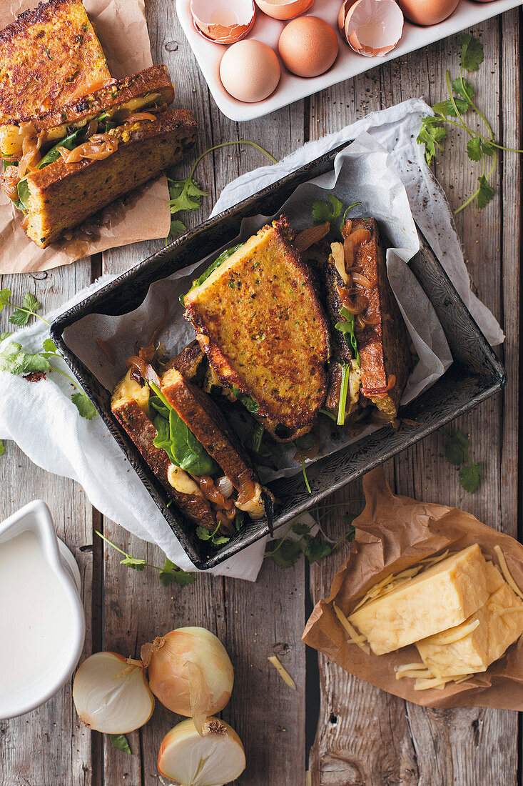 French toast with spinach, cheese and garam masala