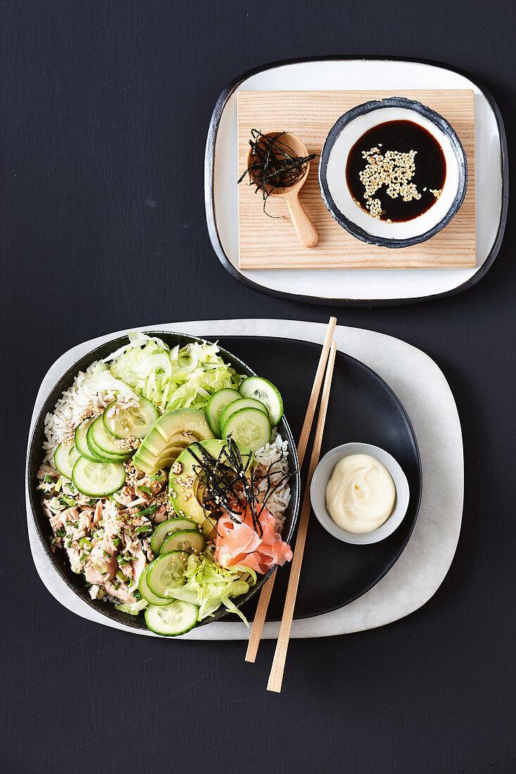 Tuna sushi salad bowl