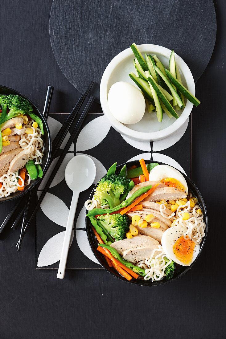 Chicken and corn ramen bowl