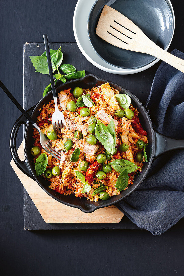 Italian tuna and rice bake