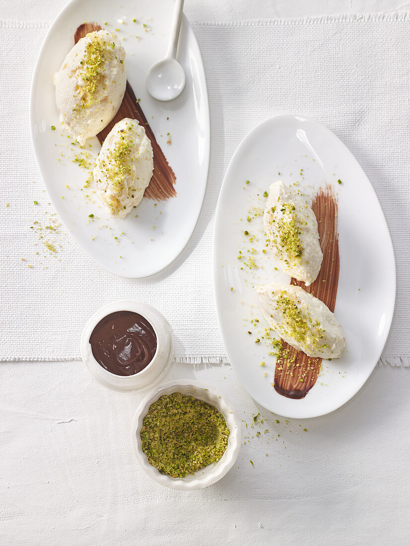 Pear and quark mousse with pistachio sprinkles