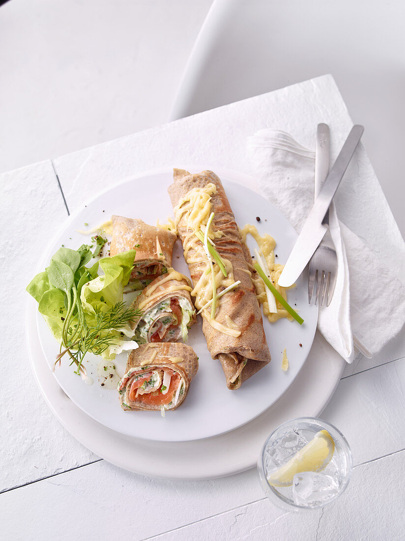 Buckwheat galettes with ricotta and smoked salmon