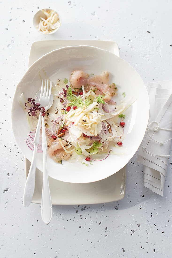 Marinated fennel and trout salad