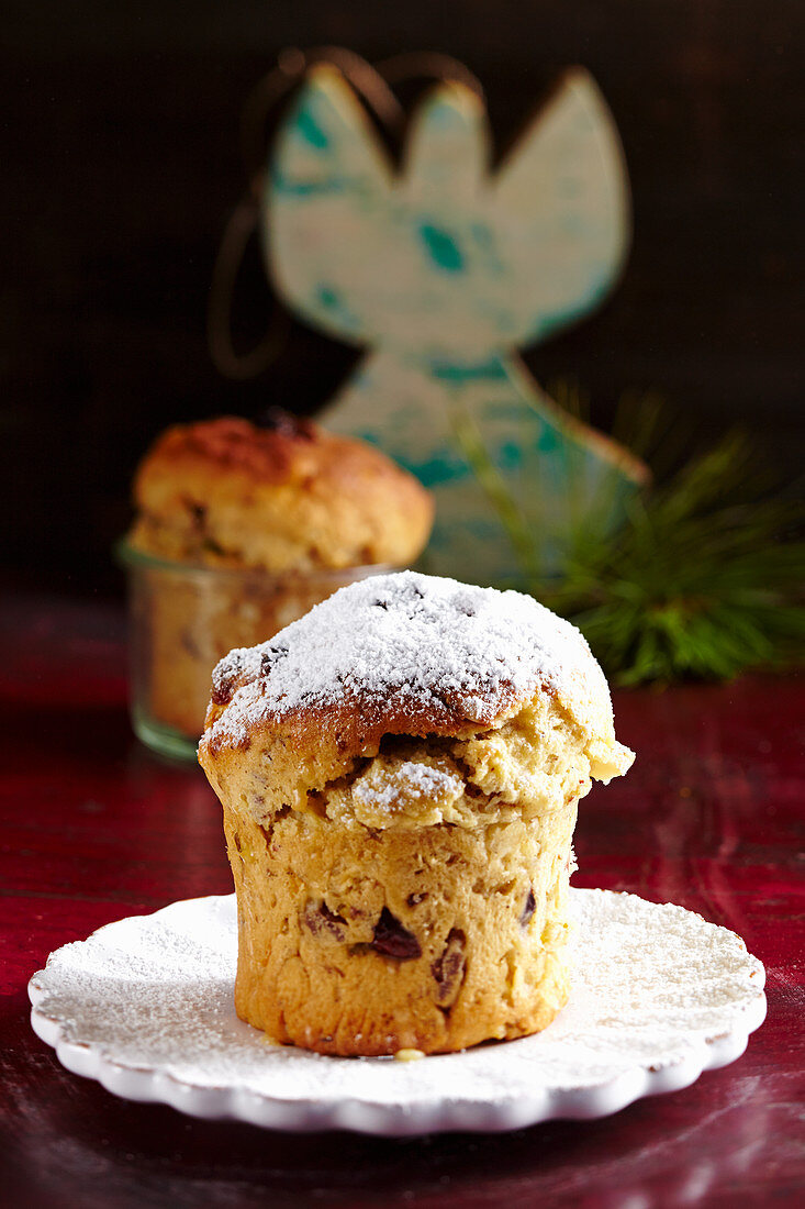 A small, round cranberry and nut stollen for Christmas baked in a jar