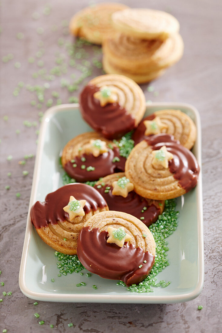 Hazelnut snails with espresso and green sugar decorations