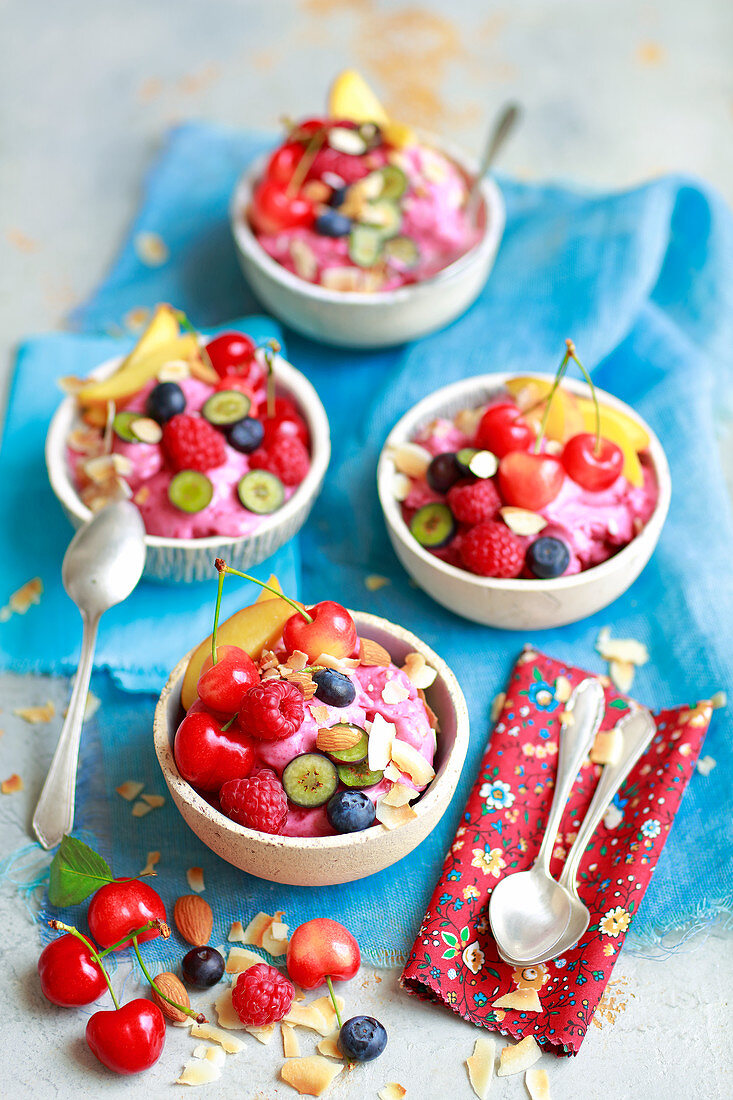 Nice cream - fit icecream made with frozen bananas and raspberries