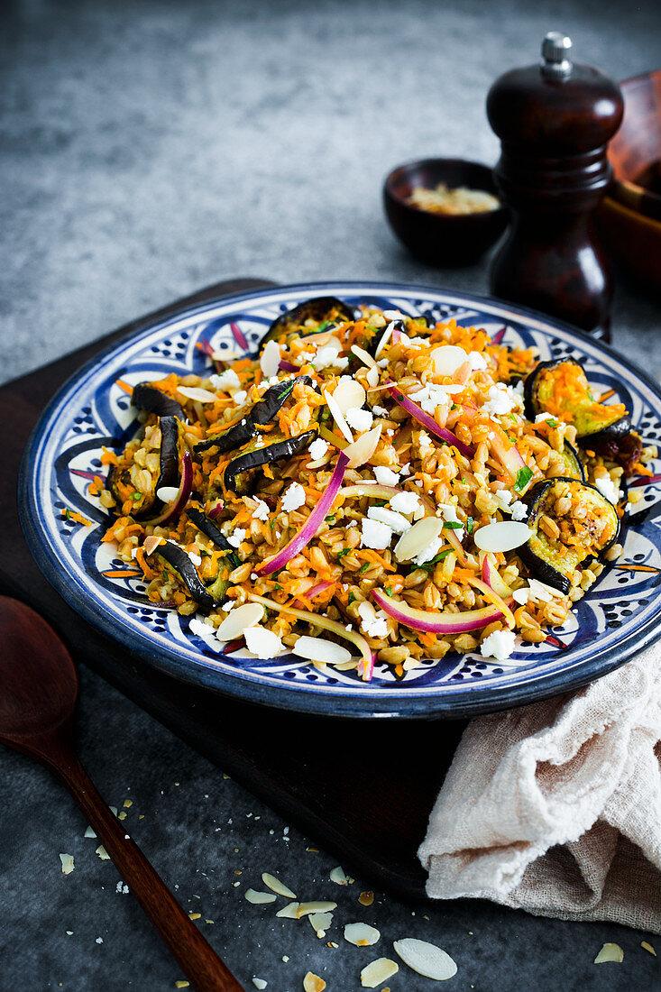 Farro salad with roasted aubergines