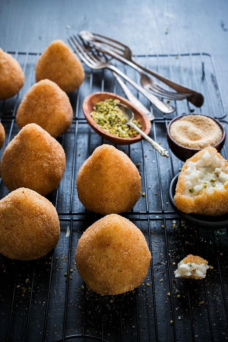 Pistacchio arancini (Sicilian stuffed rice balls)