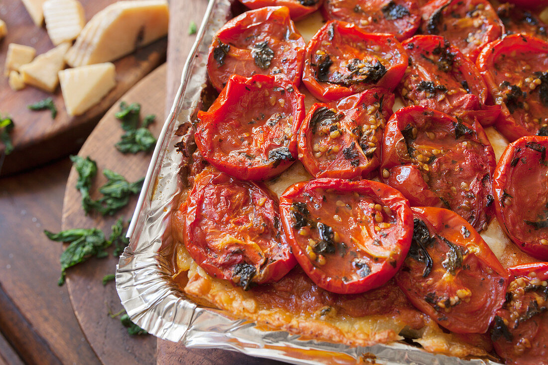 Vegetarian Lasagna with Roasted Tomatoes in a Baking Tin