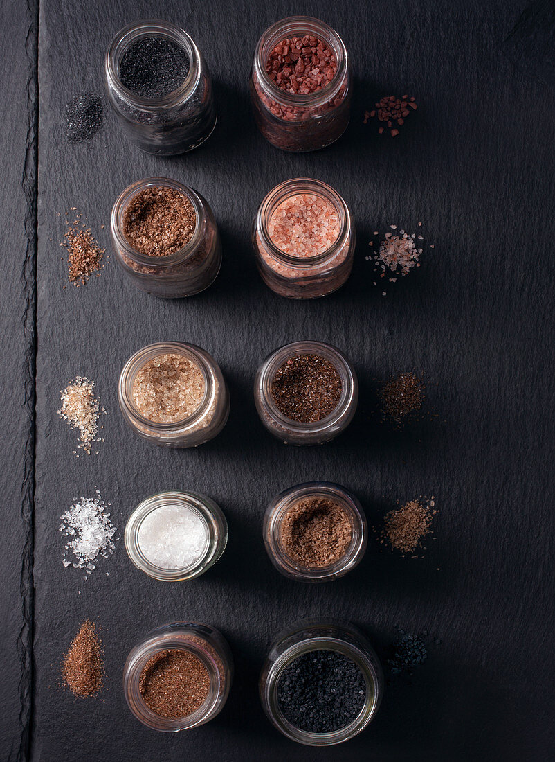 Various Types and Colors of Course Salt in Jars