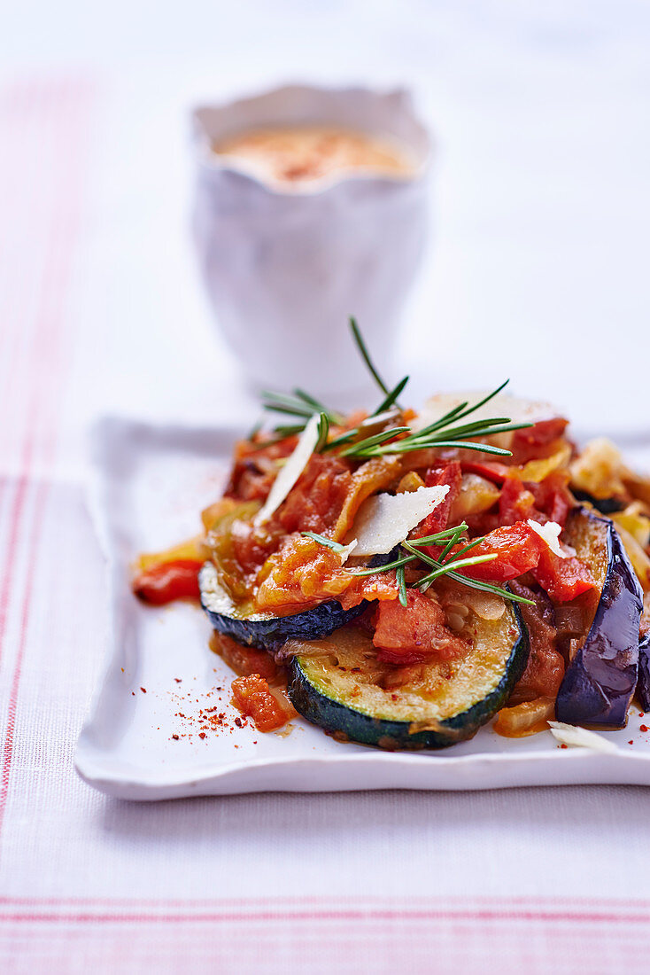 Ratatouille with parmesan and rosemary