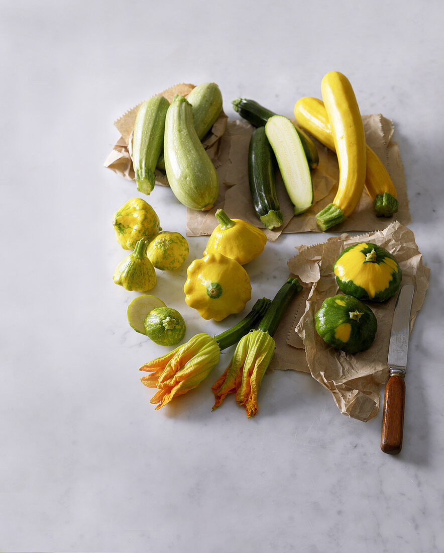 Various types of zucchini