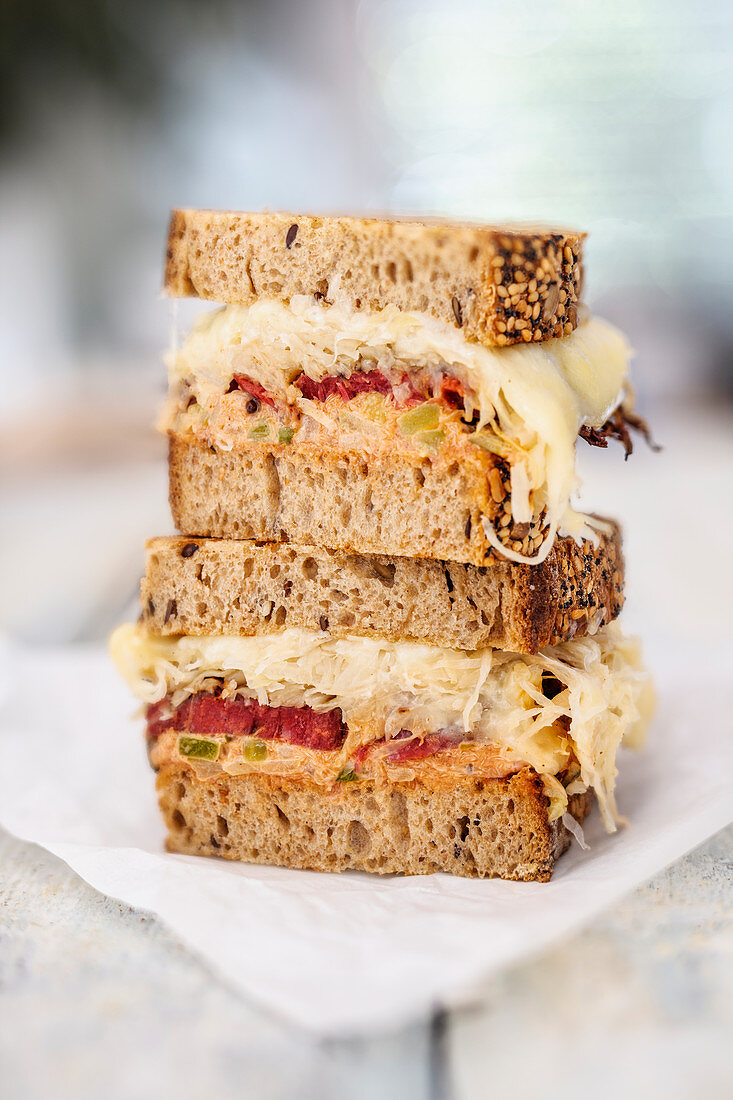 Reuben sandwiches with pastrami, sauerkraut and Thousand Island dressing (New York)