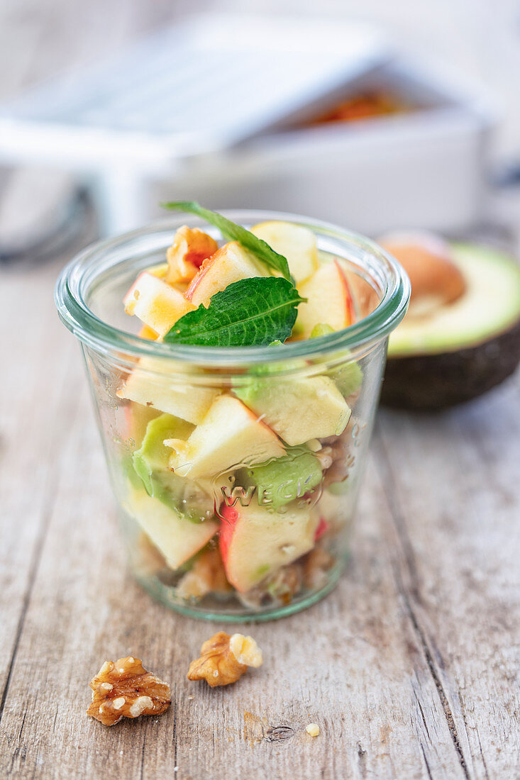 A salad with apple, celery, avocado and walnuts (low carb lunch)
