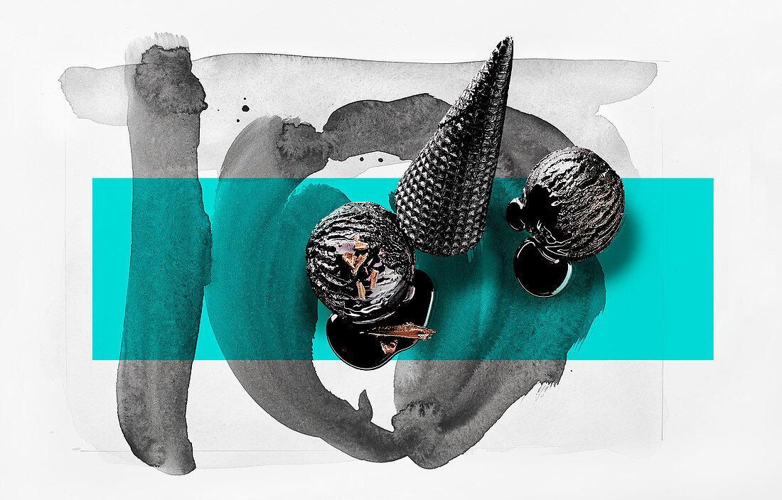 Food-Art: Schwarzes Eis und schwarze Eistüte auf bemaltem Untergrund