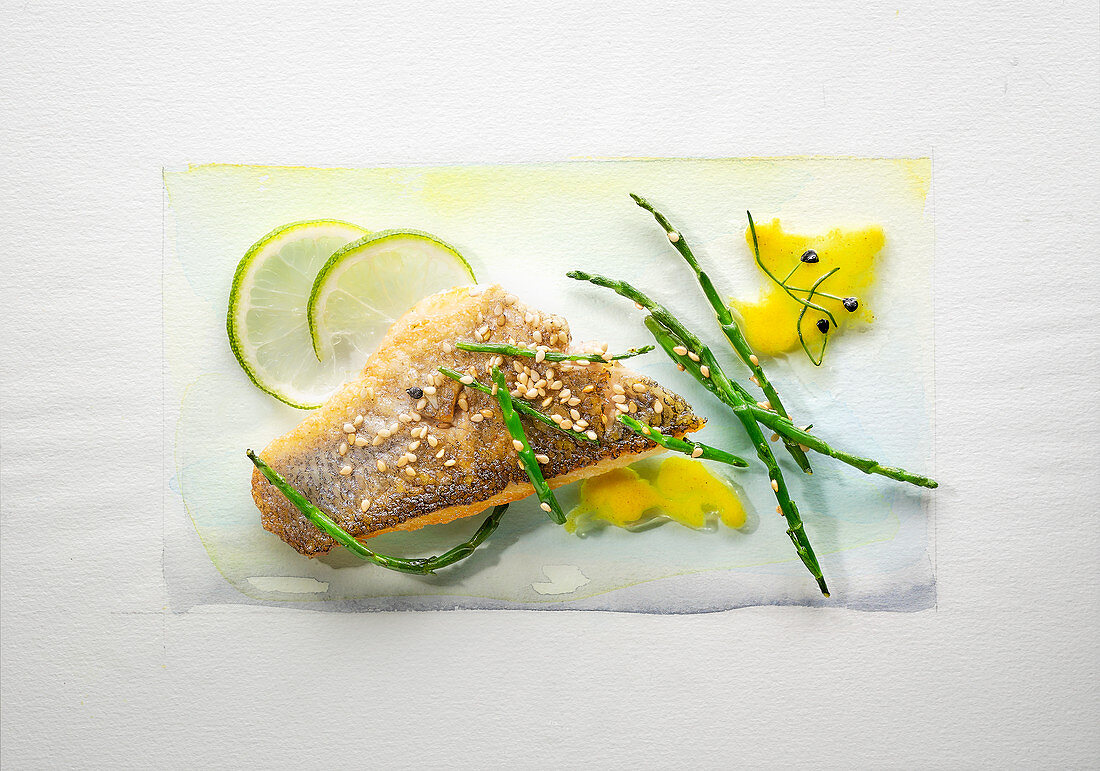 Food art: bass with lime, Thai asparagus, sesame seeds and mango sauce on a page of watercolour