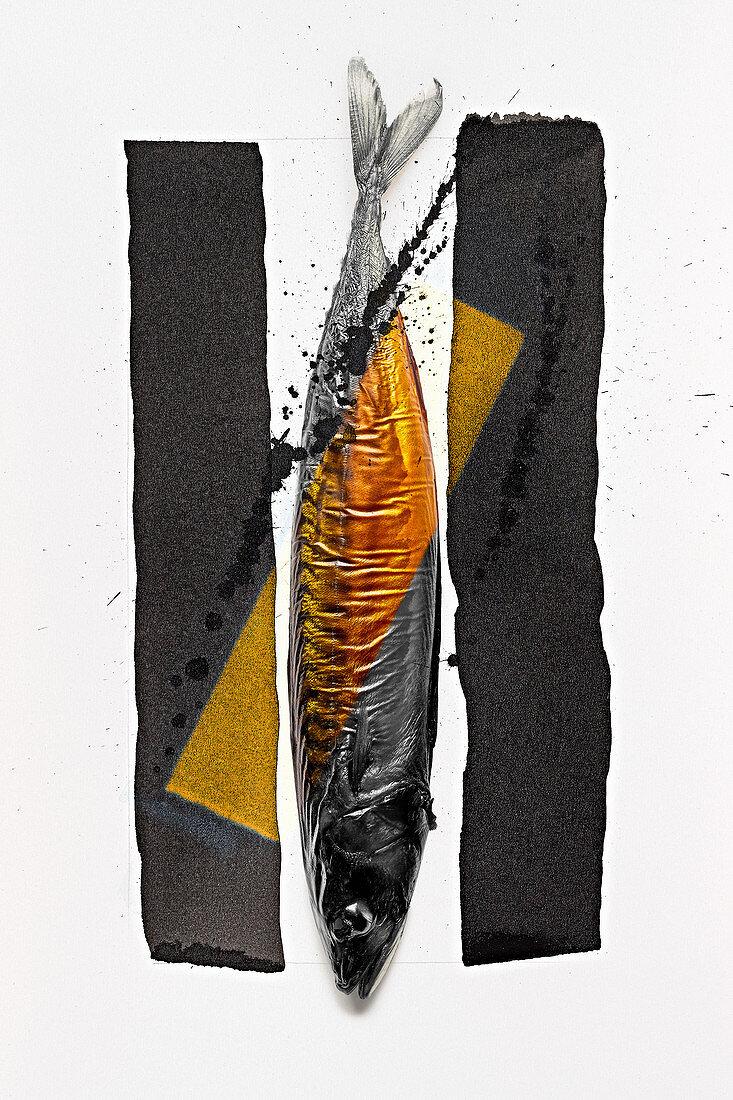 Food art: mackerel (gold, black and white)