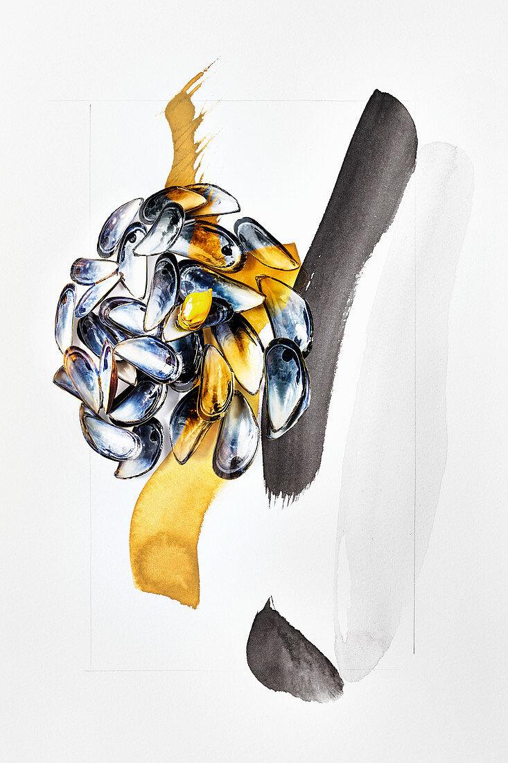 Food-Art: Miesmuscheln (Blau, Gold, Schwarz)