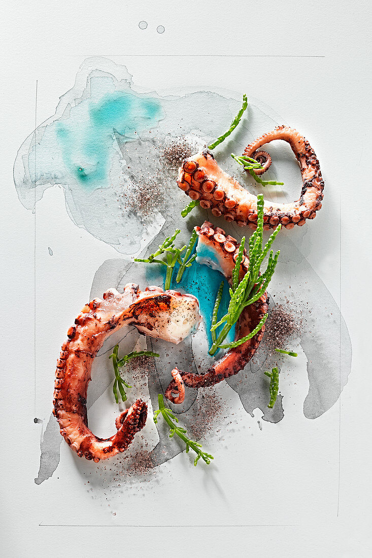 Food art: octopus with samphire and Himalaya salt on a page of watercolour