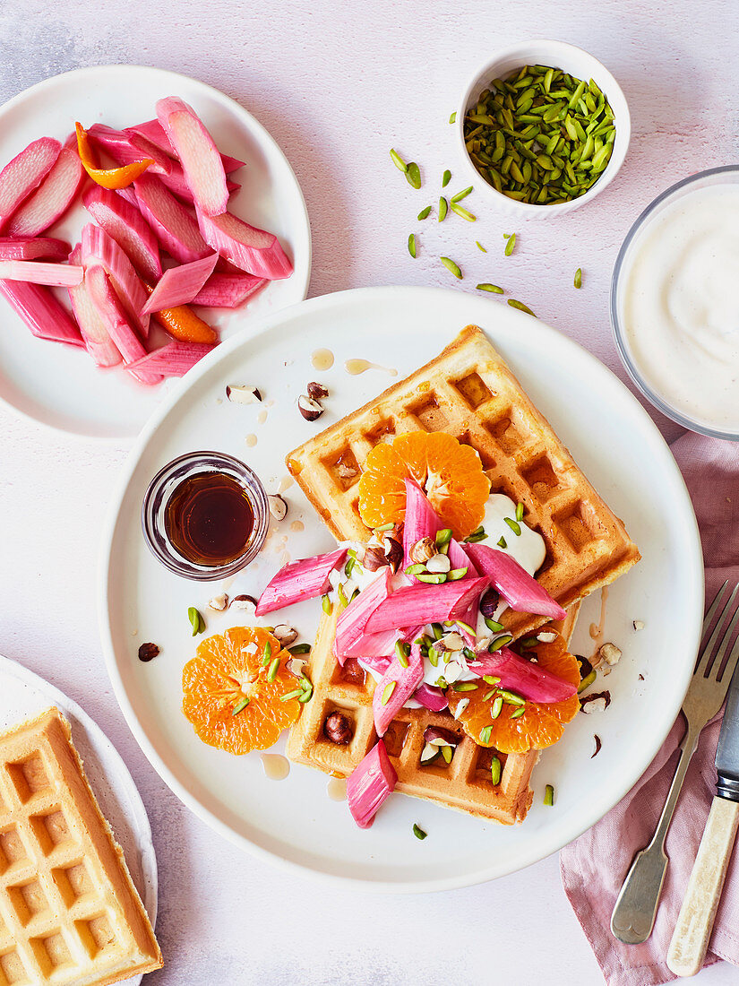 Belgian waffles with roasted rhubarb and clementines