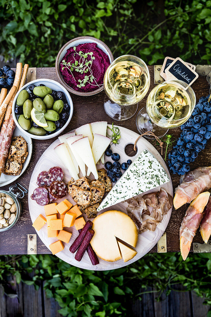 Meat and Cheese Platter served with wine outdoors