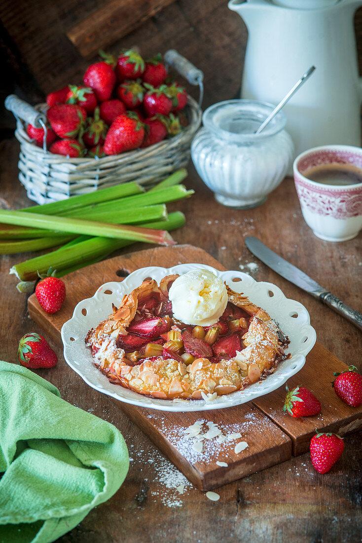 Strawberry rhubarb galettes with vanilla ice cream