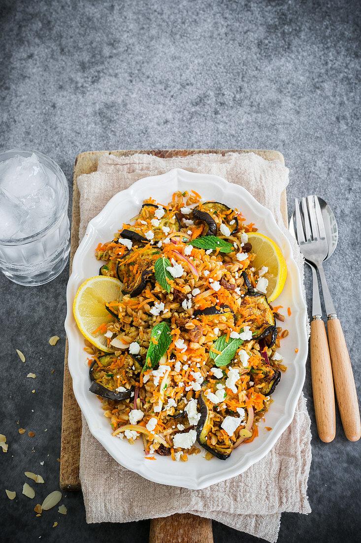 Roasted aubergine, carrot and farro salad