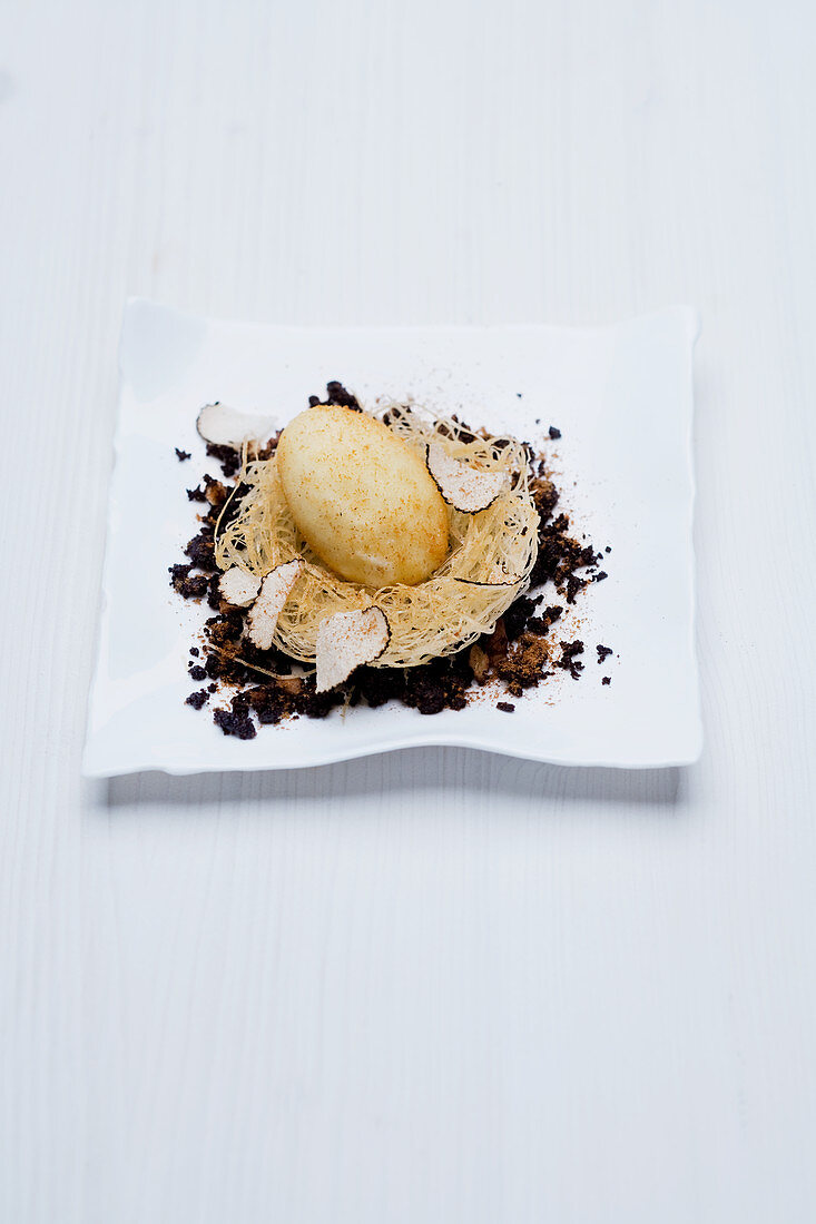 Mascarpone ice cream with kataifi pastry, Baileys, crème anglaise and truffles