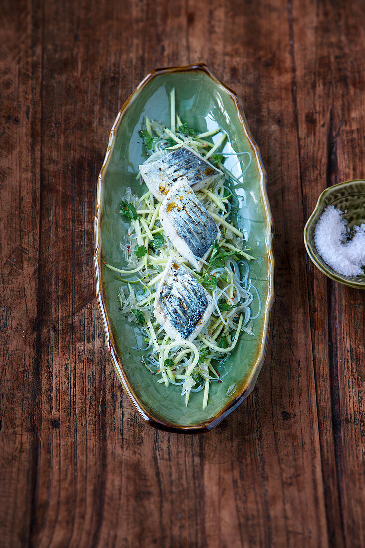 Pickled mackerel on a grapefruit, green mango and glass noodle salad