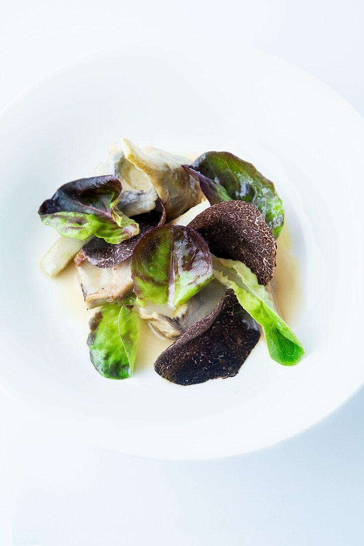 Braised artichokes with salanova lettuce and truffle
