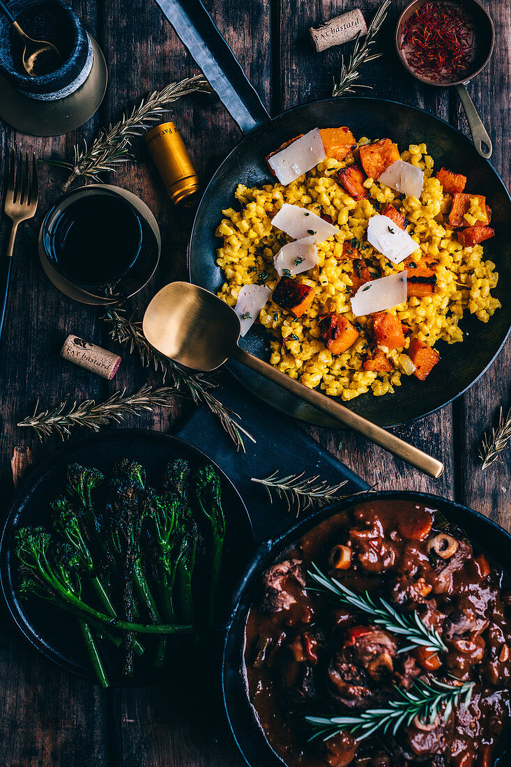 Samp Risotto with Saffron and Butternut and Lamb Knuckle Stew