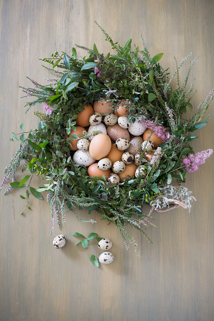 Quail eggs and hens' eggs in Easter wreath
