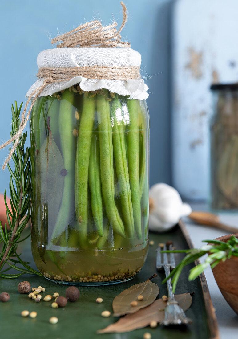 Fermented green beans in brine