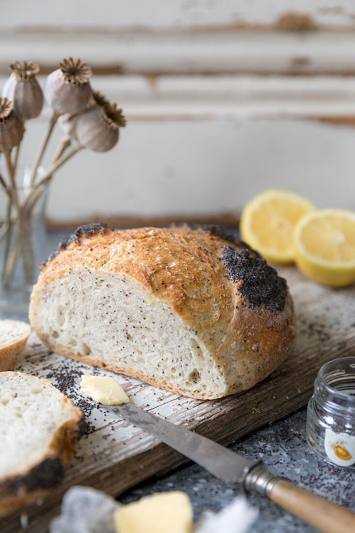 A white, home made loaf, flavoured with Amalfi lemon and poppy seeds