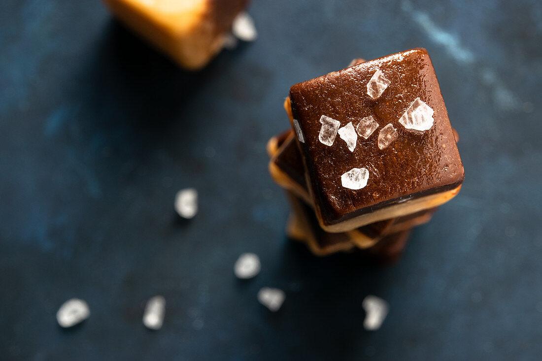 Home-made salted caramel and chocolate fudge