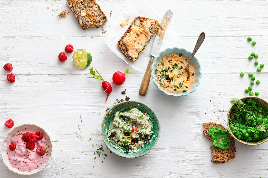 Four sweet or savoury spreads