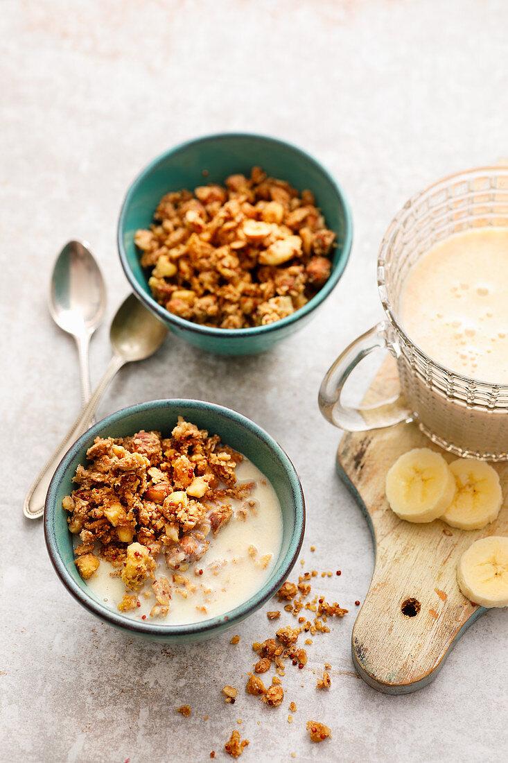 Crunchy muesli with banana milk